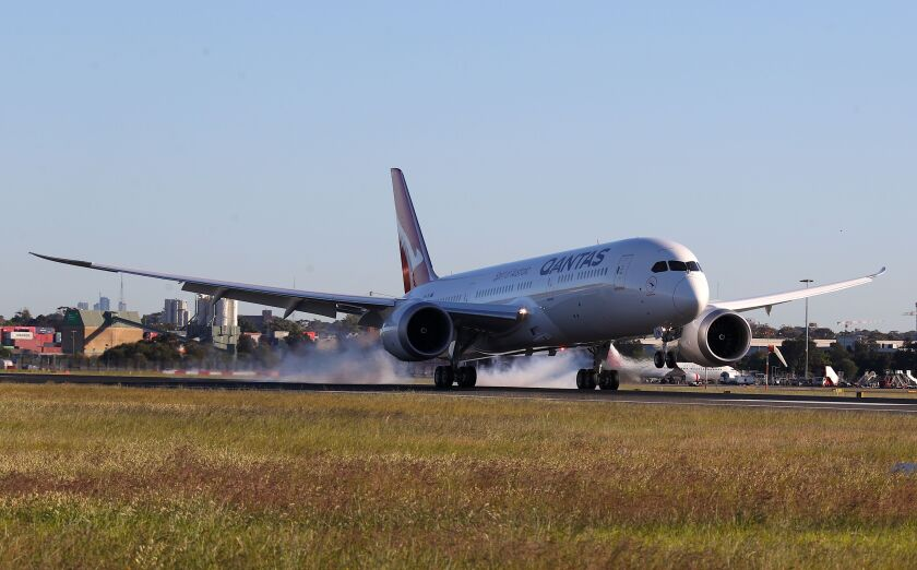 This Qantas Boeing 787 passenger plane landed at Sydney International Airport after finishing a record-breaking flight of 19 hours and 15 minutes from New York to Sydney on Oct. 20.