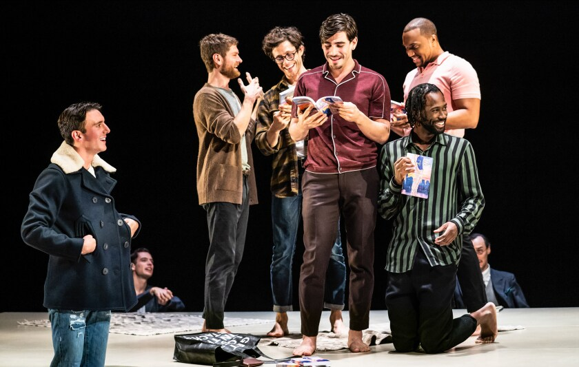 """The Inheritance,"" with Samuel H. Levine, left, Kyle Soller, Kyle Harris, Arturo Luis Loria, Jordan Barbour and Darryl Gene Daughtry Jr. (kneeling)."