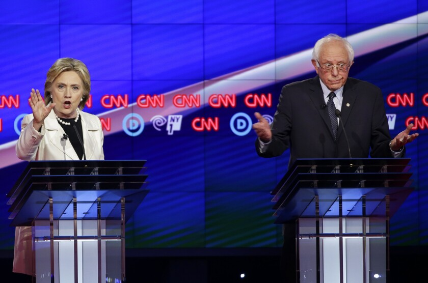Hillary Clinton and Bernie Sanders during the Democratic candidates' debate in New York in the run-up to the 2016 primary election.