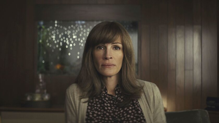 """This image released by Amazon shows Julia Roberts in a scene from """"Homecoming."""" On Thursday, Dec. 6,"""