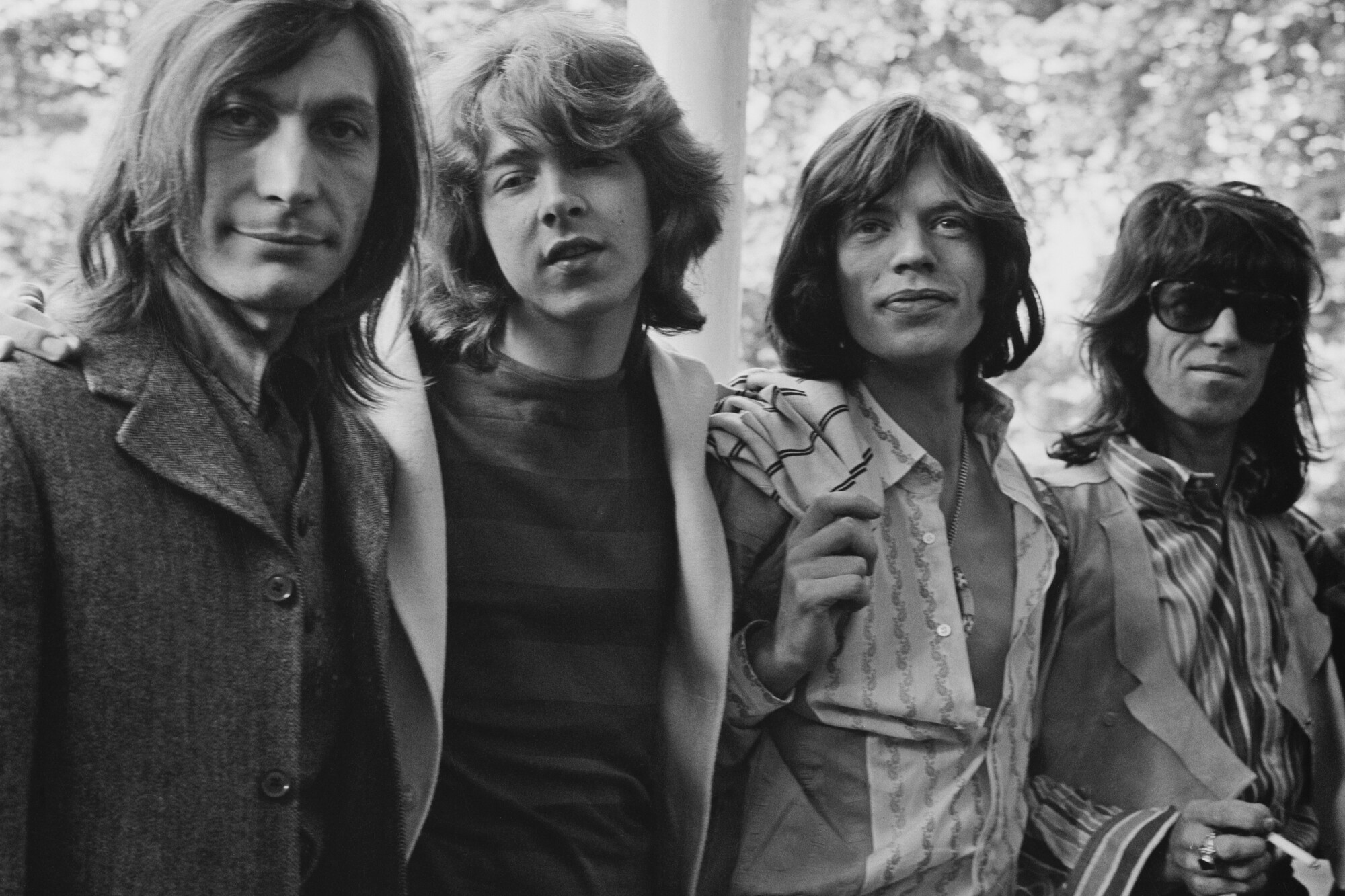 The Rolling Stones in Hyde Park, London, in 1969: Charlie Watts, Mick Taylor, Mick Jagger, Keith Richards.