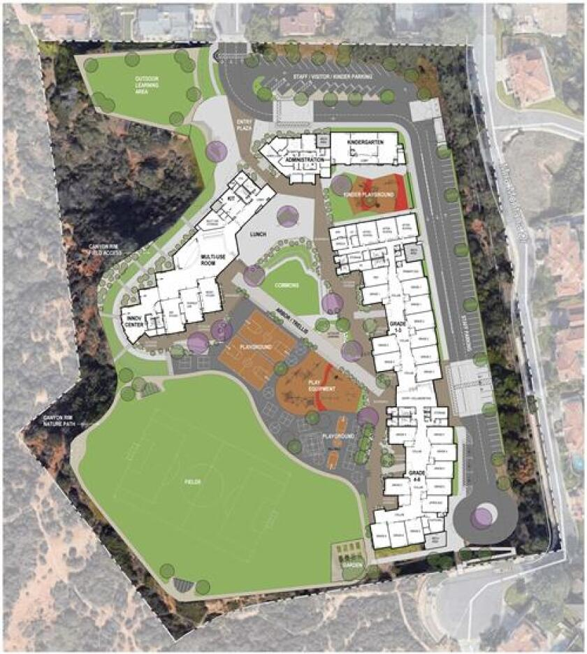 The proposed site plan for the Del Mar Heights School rebuild.