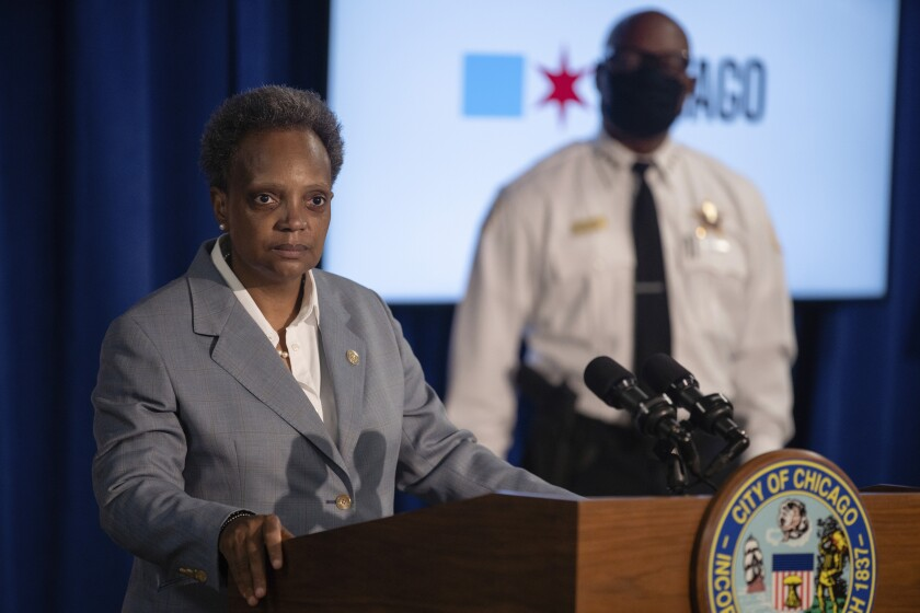 Chicago Mayor Lori Lightfoot speaks during a news conference Wednesday.