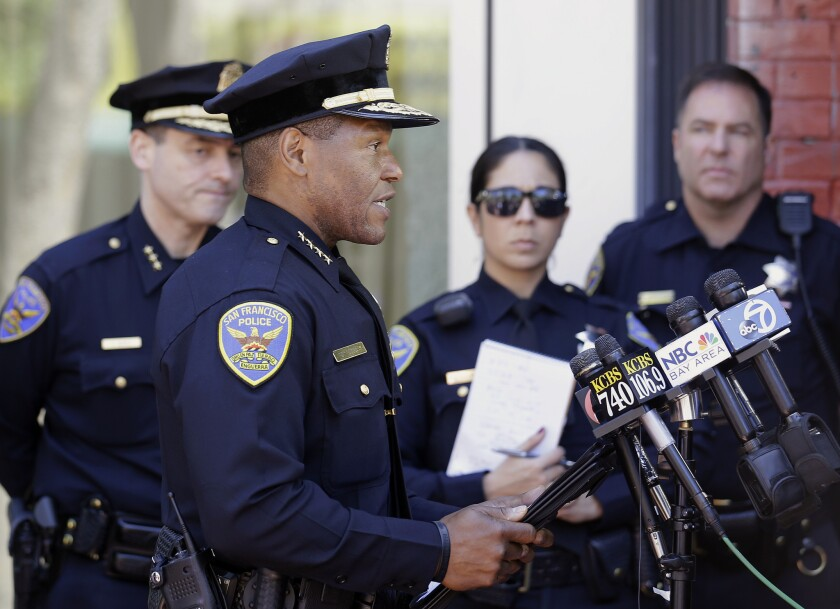 San Francisco Police Chief Bill Scott speaks to reporters in San Francisco.