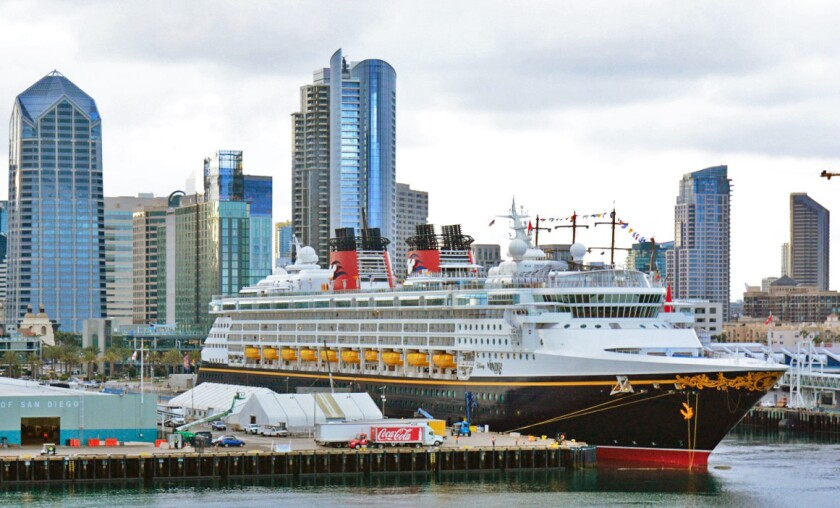 The Disney Wonder is docked at San Diego's B Street Terminal following the conclusion of an April 2019 cruise to Mexico.