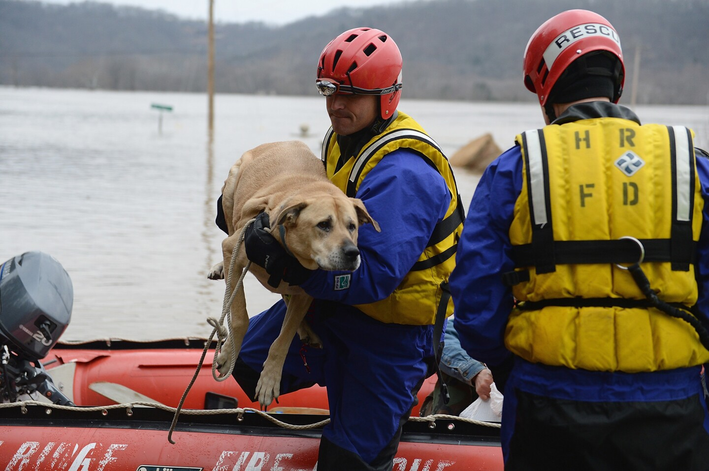 The High Ridge Fire Department rescues stranded residents and pets along the Meremac River in Eureka, Mo.