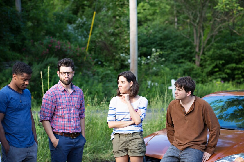 """Nate Parker, Max Greenfield, Aubrey Plaza and Jason Ritter in Jesse Zwick's """"About Alex."""""""