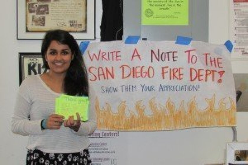Torrey Pines senior Ashu Bhadada coordinated the firefighter appreciation project. Photo/Kristina Houck