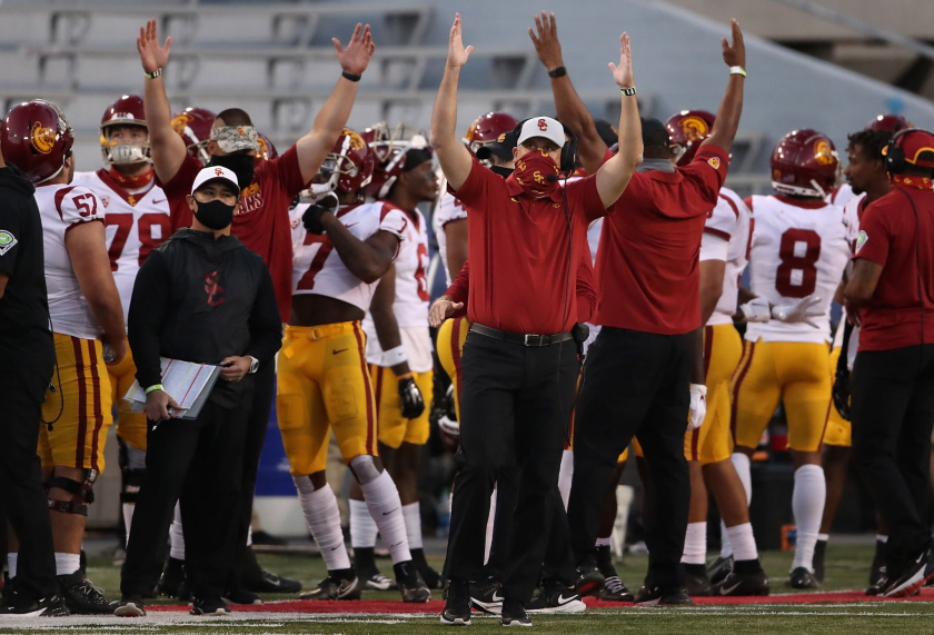 USC coach Clay Helton of the USC Trojans reacts after a touchdown against Arizona on Saturday.