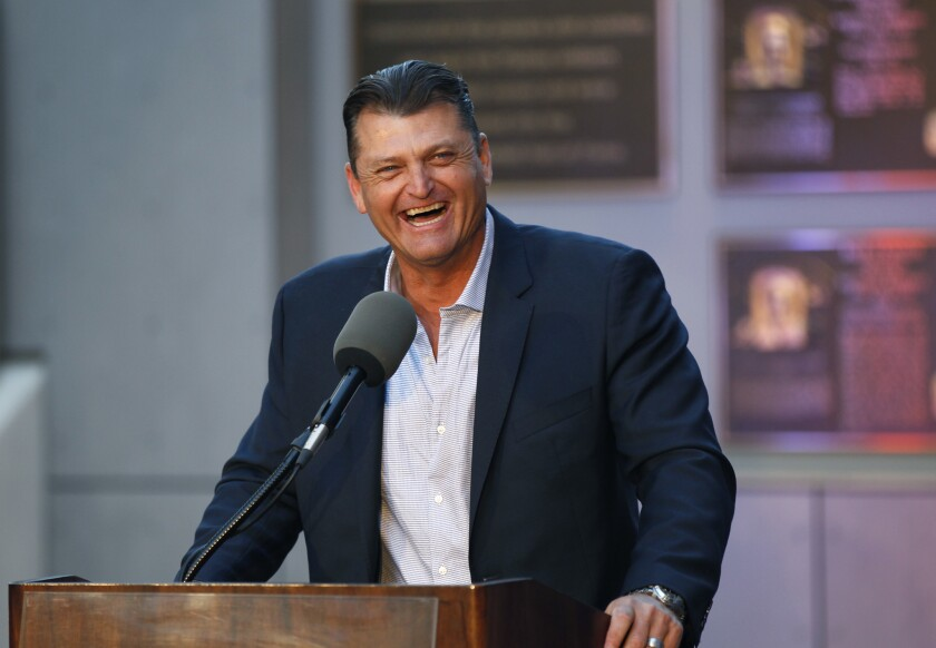 Trevor Hoffman speaks a news conference after he was elected to the National Baseball Hall of Fame at Petco Park on January 24, 2018.