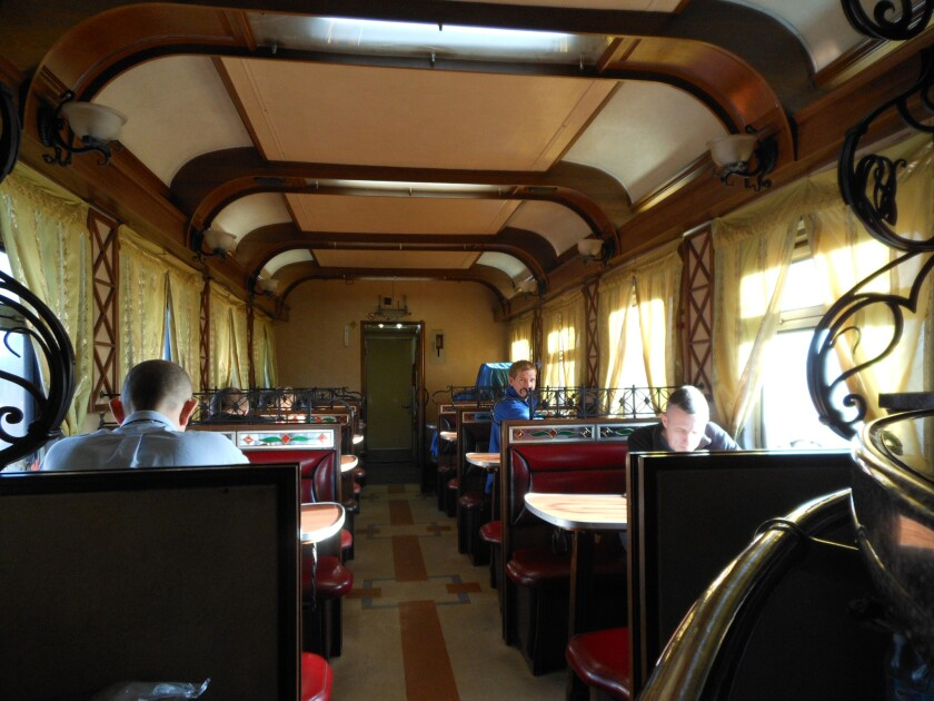 Dining cars offer extensive menus, but availability is often limited. Russi