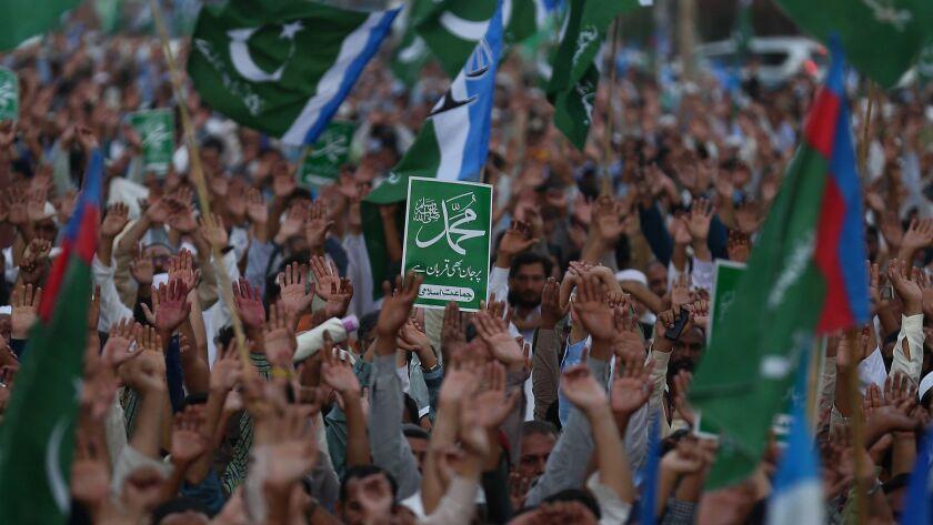 Protests after top Pakistan court commutes Asia Bibi's death sentence, Karachi - 04 Nov 2018