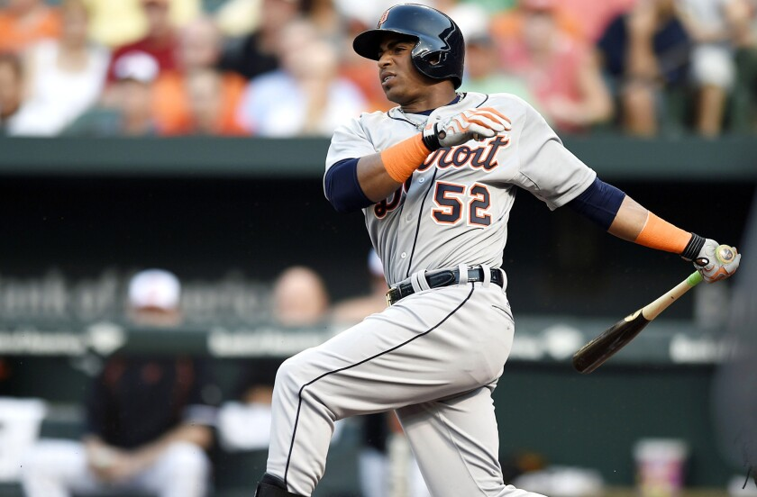 Former Detroit Tigers Yoenis Cespedes hits a single against the Baltimore Orioles in the first inning on Thursday.