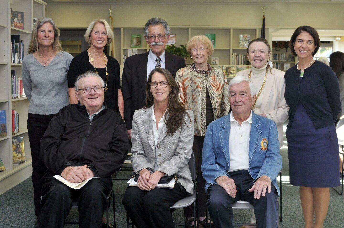 Rancho Santa Fe Library Guild Board of Directors- Seated: Claude Kordus, Treasurer Deana Ingalls, Tony Wilson. Standing: Erika Desjardins, Secretary Kathy Stumm, President Art Yayanos, past President Nancy Miller, Susan Bailey Cowan, Executive Director Susan Appleby
