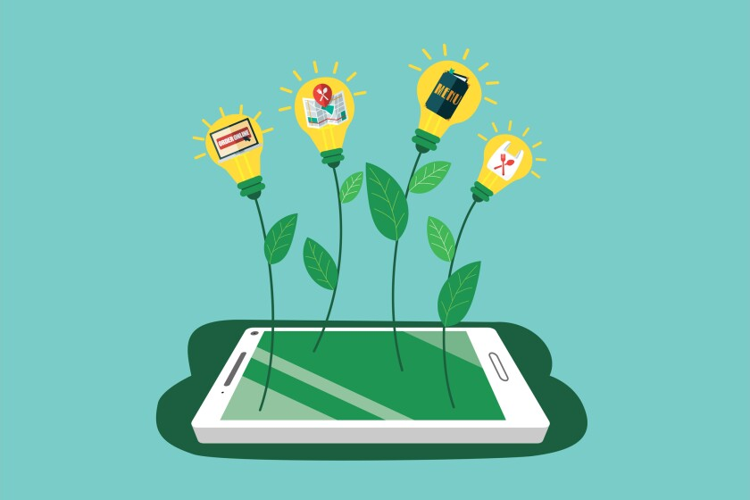 Illustration of flowers sprouting from a cellphone.