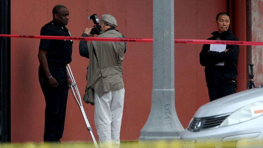 VENICE, CA MAY 6, 2015 - LAPD officer Clifford Proctor, on crutches, was involved in fatal shooting