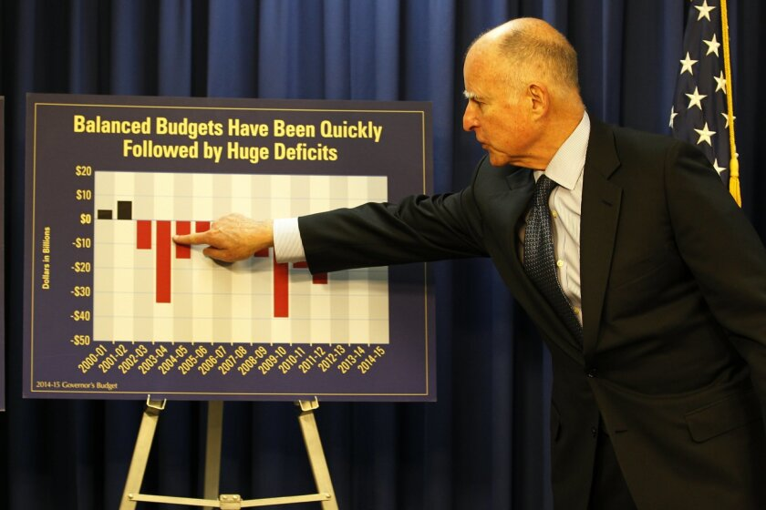 Gov. Jerry Brown held court at San Diego City Hall as part of a three-city tour Thursday to unveil his proposed 2014-15 budget. He started in Sacramento and ended up in Los Angeles after stopping here.