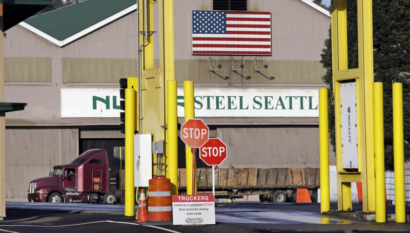 The Nucor Steel plant in Seattle is among the businesses likely to be affected by a carbon tax