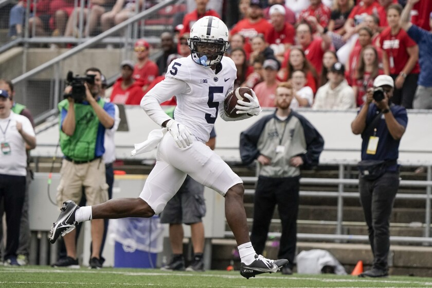 Penn State's Jahan Dotson catches a touchdown pass during the second half of an NCAA football game against Wisconsin Saturday, Sept. 4, 2021, in Madison, Wis. Penn State won 16-10. (AP Photo/Morry Gash)