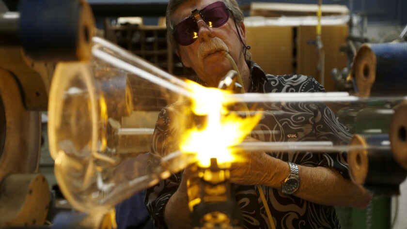 Caltech's scientific glass blower, Rick Gerhart, 71, crafts all of the intricate glass contraptions and beakers that Nobel laureates and grad student researchers need for complex chemistry experiments.