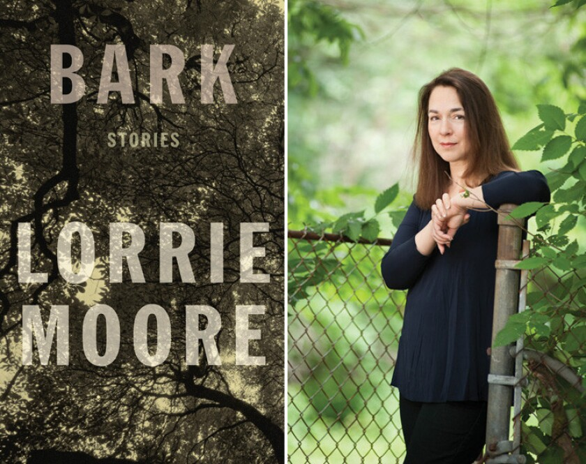 """The cover of """"Bark"""" and author Lorrie Moore."""