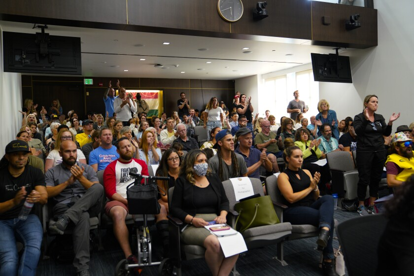 The audience at the San Diego County Board of Supervisors meeting
