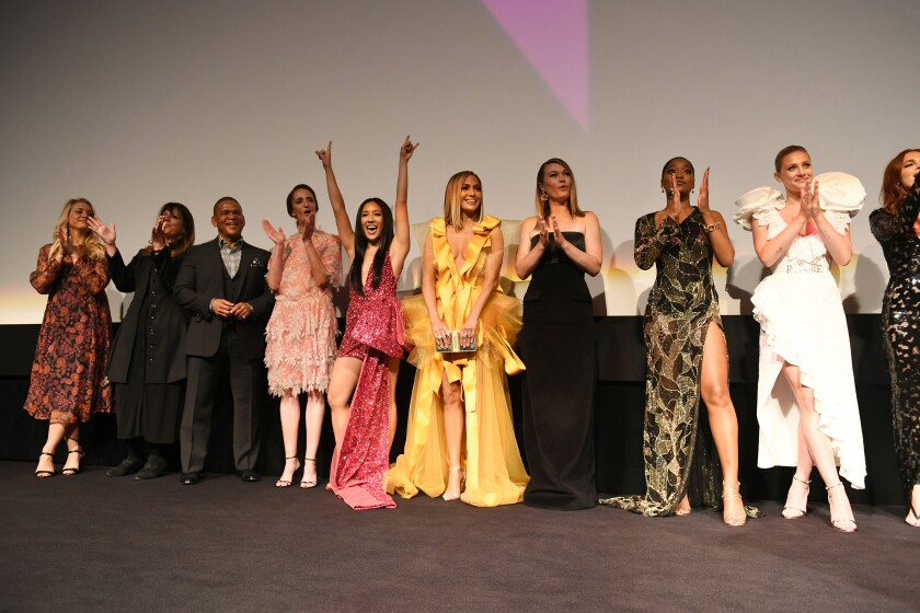 """Constance Wu, Jennifer Lopez and others at the """"Hustlers"""" world premiere on Saturday night."""