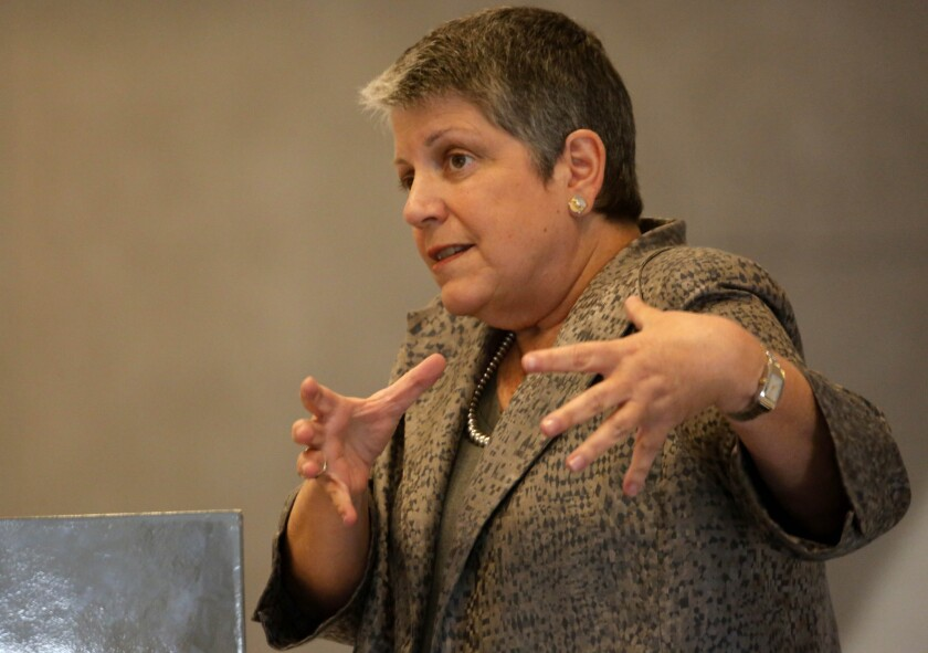 University of California President Janet Napolitano speaks at a 2014 town hall.
