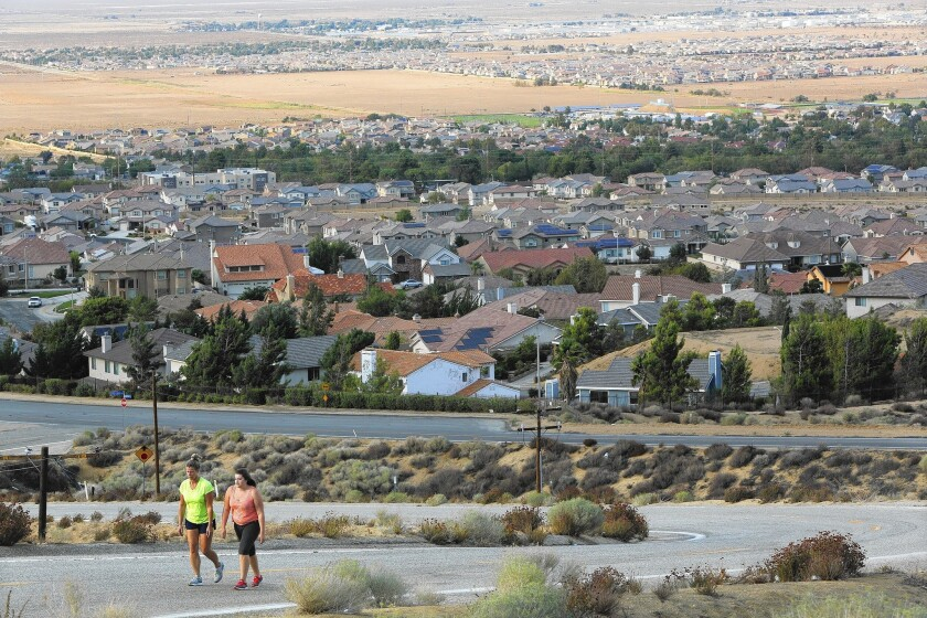 A view of Palmdale, and in the distance at top of photo, Lancaster. Critics say Palmdale's at-large balloting violates the California Voting Rights Act because it deprives minorities of the opportunity to elect a candidate of their choice.