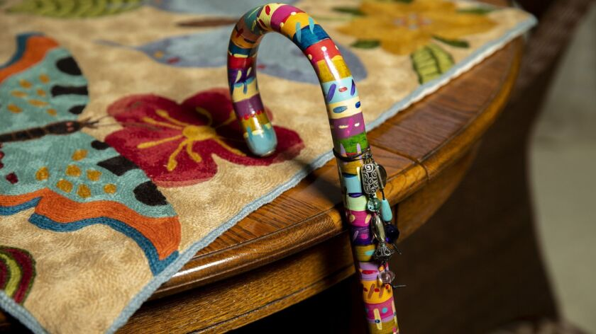 CARLSBAD,CA --WEDNESDAY, MAY 16, 2018--The decorated cane of Rolly Crump, 88, a Disney Imagineer for