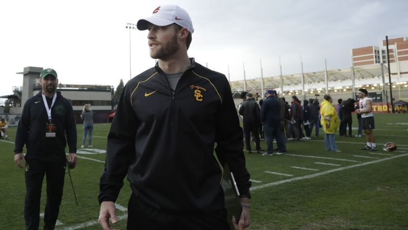 John David Baker, an offensive quality control analyst who followed offensive coordinator Graham Harrell to USC last January, at USC spring football practice in 2019.
