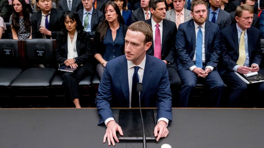 Facebook CEO Mark Zuckerberg testifies during a House Energy and Commerce Committee hearing in 2018.