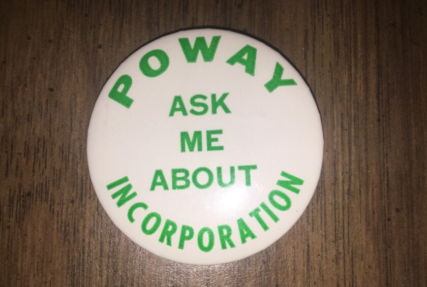 A Poway incorporation campaign button.