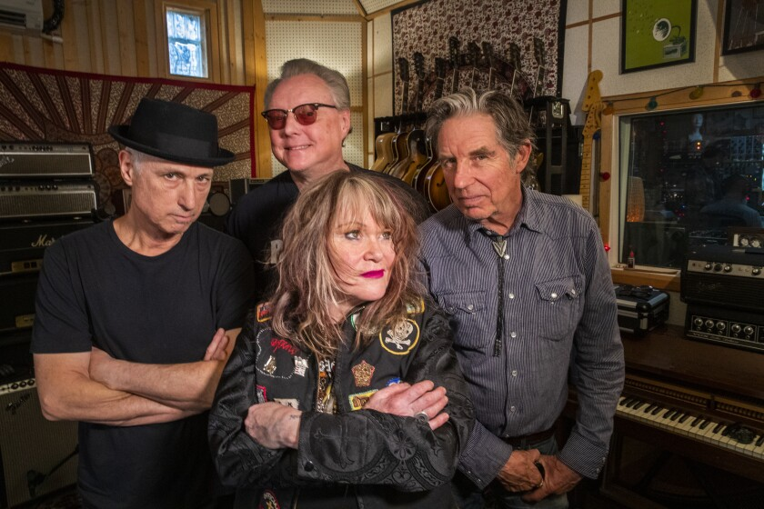 X just released its first album with its original lineup in 35 years. From left: drummer D.J. Bonebrake, guitarist Billy Zoom, vocalist Exene Cervenka and vocalist-bassist John Doe.