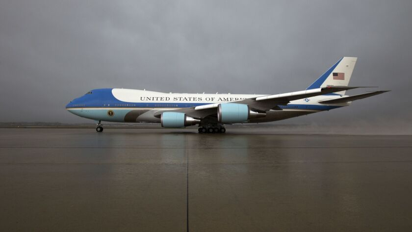 FILE - In this April 6, 2017 file photo, Air Force One, with President Donald Trump aboard, departs