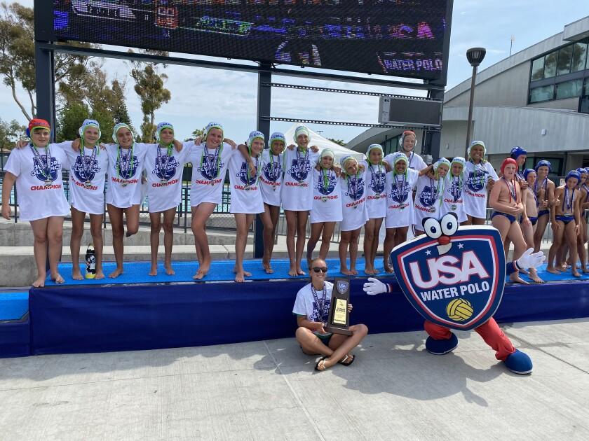 The Costa Mesa Aquatics Club 12-and-under co-ed team and coach Olivia Schwartz.