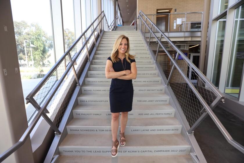 Jennifer Ferro, president of KCRW, inside the new KCRW Media Center in Santa Monica.