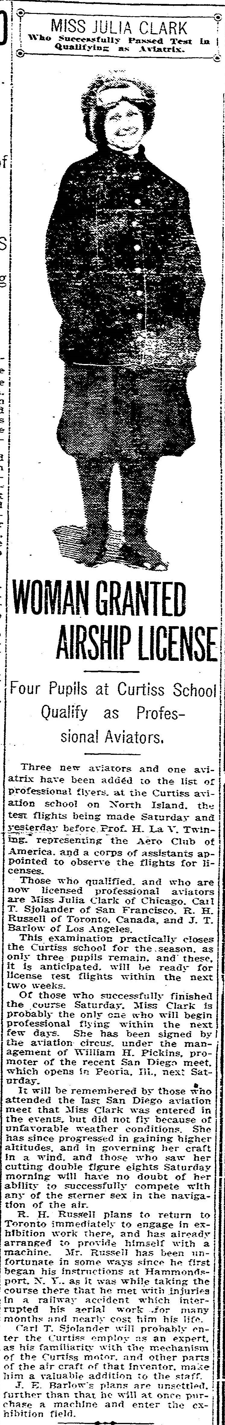 From the Archives: 1912: Julia Clark would rather fly than eat